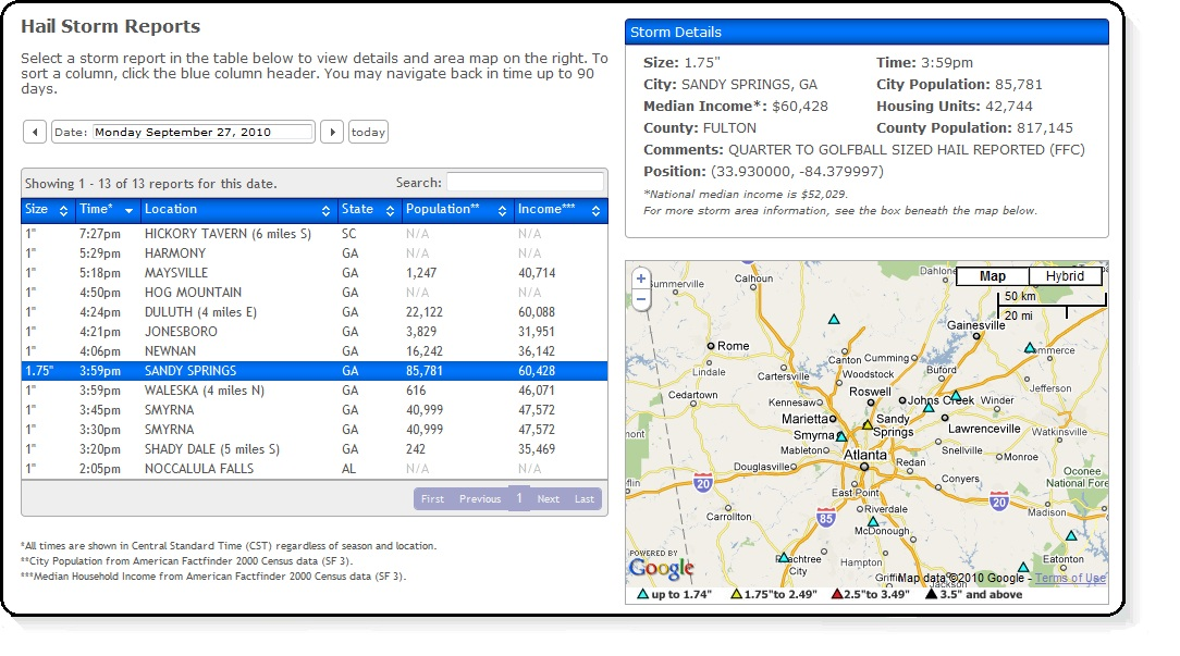 View Sample Reports  The Hail Reporter